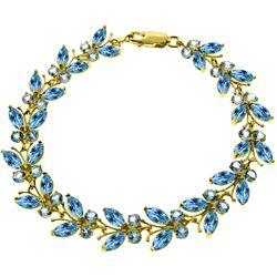 Genuine 16.5 ctw Blue Topaz Bracelet Jewelry 14KT Yellow Gold - REF-179X2M