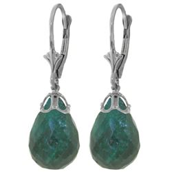 Genuine 29.6 ctw Green Sapphire Corundum Earrings Jewelry 14KT White Gold - REF-40W7Y