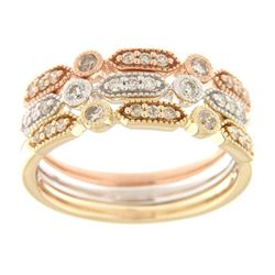 0.45 CTW Diamond Band Ring 14K Tri-Color Gold - REF-62W3H