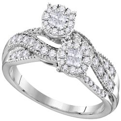 0.50 CTW Princess Diamond Soleil Cluster Bridal Engagement Ring 14KT White Gold - REF-67F4N