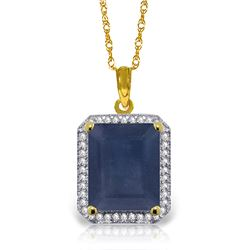 Genuine 6.6 ctw Sapphire & Diamond Necklace Jewelry 14KT Yellow Gold - REF-103N5R