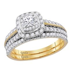 1 CTW Princess Diamond Certified Milgrain Halo Bridal Ring 14KT Yellow Gold - REF-134H9M