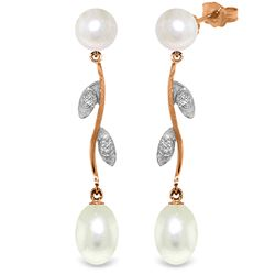 Genuine 10.02 ctw Pearl & Diamond Earrings Jewelry 14KT Rose Gold - REF-33P8H
