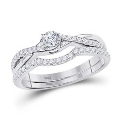 0.33 CTW Diamond Bridal Wedding Engagement Ring 10KT White Gold - REF-30X2Y