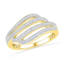 0.33 CTW Diamond Four Row Strand Ring 10KT Yellow Gold - REF-30F2N