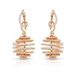 1.59 CTW Diamond Earrings 14K Rose Gold - REF-91Y7X