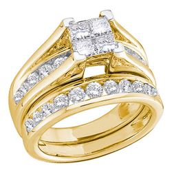 0.50 CTW Princess Diamond Bridal Engagement Ring 10KT Yellow Gold - REF-41Y2X