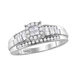 0.51 CTW Princess Diamond Cluster Bridal Engagement Ring 10KT White Gold - REF-49Y5X