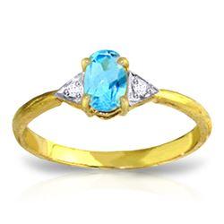 Genuine 0.46 ctw Blue Topaz & Diamond Ring Jewelry 14KT Yellow Gold - REF-22A5K