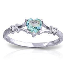 Genuine 0.47 ctw Blue Topaz & Diamond Ring Jewelry 14KT White Gold - REF-27F2Z