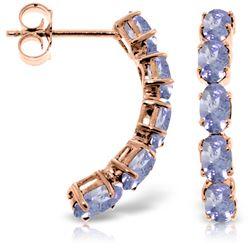 Genuine 2.5 ctw Tanzanite Earrings Jewelry 14KT Rose Gold - REF-52V9W