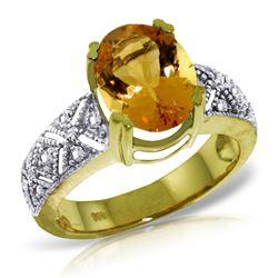 Genuine 3.2 ctw Citrine & Diamond Ring Jewelry 14KT Yellow Gold - REF-95K7V