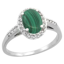 Natural 1.77 ctw Malachite & Diamond Engagement Ring 14K White Gold - REF-30W9K