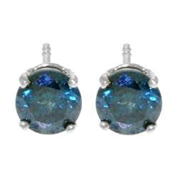 Genuine 1.0 ctw Blue Diamond Earrings Jewelry 14KT White Gold - REF-202A2K