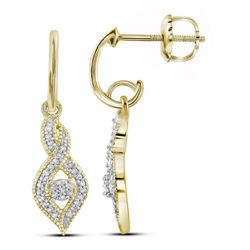 0.15 CTW Diamond Dangle Oval Earrings 10KT Yellow Gold - REF-19M4H