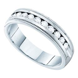 0.50 CTW Diamond Single Row Wedding Ring 14KT White Gold - REF-52K4W