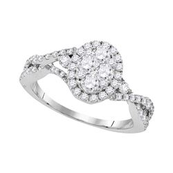 1.13 CTW Diamond Oval Cluster Halo Bridal Engagement Ring 10KT White Gold - REF-127Y4X