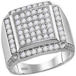 2 CTW Mens Diamond Square Framed Cluster Ring 10KT White Gold - REF-149X9Y