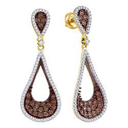 1 CTW Cognac-brown Color Diamond Teardrop Dangle Earrings 10KT Yellow Gold - REF-75K2W