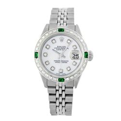 Rolex Pre-owned 26mm Womens Custom White MOP Stainless Steel - REF-470K3X