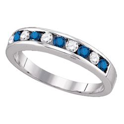 0.25 CTW Blue Color Diamond Ring 10KT White Gold - REF-14X9Y