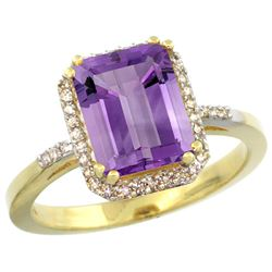 Natural 2.63 ctw amethyst & Diamond Engagement Ring 10K Yellow Gold - REF-32V7F