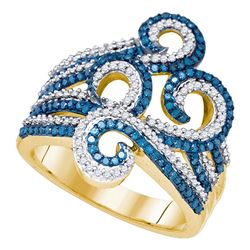 0.77 CTW Blue Color Diamond Wide Swirl Curl Cocktail Ring 10KT Yellow Gold - REF-67X4Y