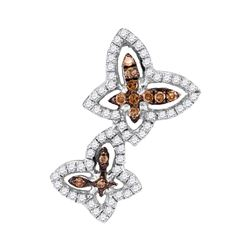 0.33 CTW Cognac-brown Color Diamond Double Butterfly Bug Pendant 10KT White Gold - REF-22F4N