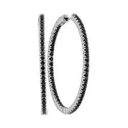 3.75 CTW Black Sapphire Slender In/Out Hoop Earrings 14KT White Gold - REF-112K5W