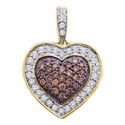 0.51 CTW Cognac-brown Color Diamond Heart Love Pendant 14KT Yellow Gold - REF-44M9H