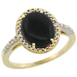 Natural 1.57 ctw Onyx & Diamond Engagement Ring 14K Yellow Gold - REF-32A4V