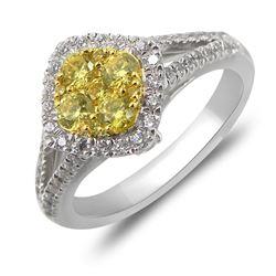 1.02 CTW Diamond & Yellow Diamond Ring 14K 2Tone Gold - REF-106M5F