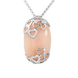 40.81 CTW Opal & Diamond Necklace 18K White Gold - REF-109K3W