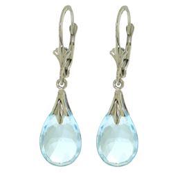 Genuine 6 ctw Blue Topaz Earrings Jewelry 14KT White Gold - REF-27Y8F