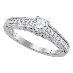 0.63 CTW Diamond Solitaire Bridal Engagement Ring 14KT White Gold - REF-134M9H