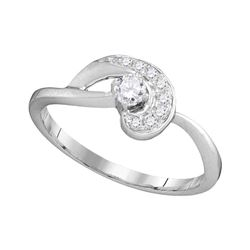 0.25 CTW Diamond Solitaire Swirl Promise Bridal Ring 10KT White Gold - REF-26Y9X