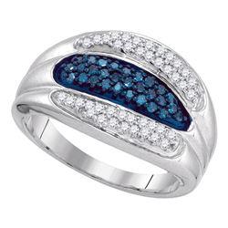 0.40 CTW Blue Color Diamond Triple Row Ring 10KT White Gold - REF-31H4M