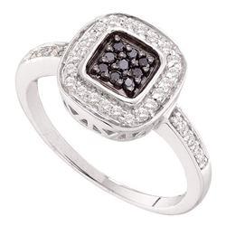 0.25 CTW Black Color Diamond Square Cluster Ring 14KT White Gold - REF-37K5W