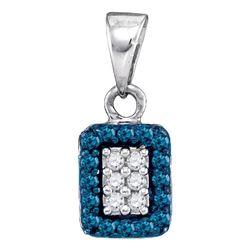 0.20 CTW Blue Color Diamond Rectangle Cluster Pendant 10KT White Gold - REF-9X7Y