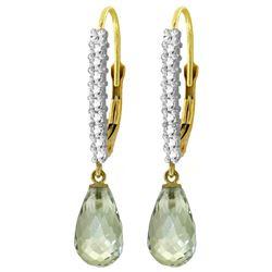 Genuine 4.8 ctw Green Amethyst & Diamond Earrings Jewelry 14KT Yellow Gold - REF-53P2H