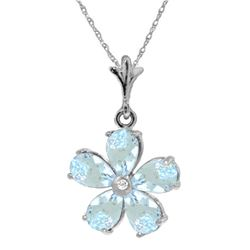 Genuine 2.22 ctw Aquamarine & Diamond Necklace Jewelry 14KT White Gold - REF-36H3X