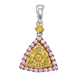 0.67 CTW Yellow Pink Diamond Triangle Cluster Pendant 14KT White Gold - REF-82X4Y