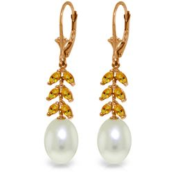 Genuine 9.2 ctw Pearl & Citrine Earrings Jewelry 14KT Rose Gold - REF-45X8M