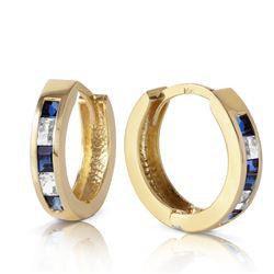Genuine 1.26 ctw Sapphire & White Topaz Earrings Jewelry 14KT Yellow Gold - REF-39V3W