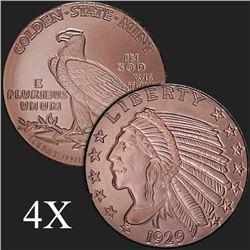 1 oz Incuse Indian .999 Fine Copper Bullion Round