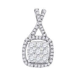 0.50 CTW Diamond Square Cluster Pendant 10KT White Gold - REF-36X2Y