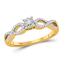 0.16 CTW Diamond Solitaire Promise Bridal Ring 10KT Yellow Gold - REF-19M4H