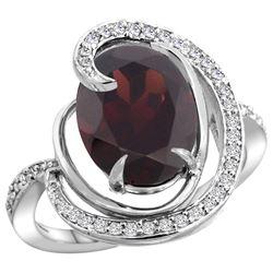 Natural 6.53 ctw garnet & Diamond Engagement Ring 14K White Gold - REF-80Y7X