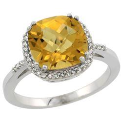 Natural 4.11 ctw Whisky-quartz & Diamond Engagement Ring 14K White Gold - REF-42X9A