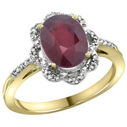 Natural 2.24 ctw Ruby & Diamond Engagement Ring 14K Yellow Gold - REF-61M9H